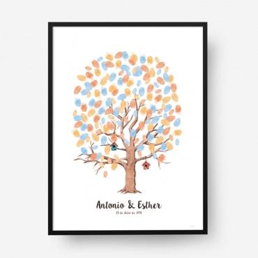 Cuadro huellas boda árbol b01