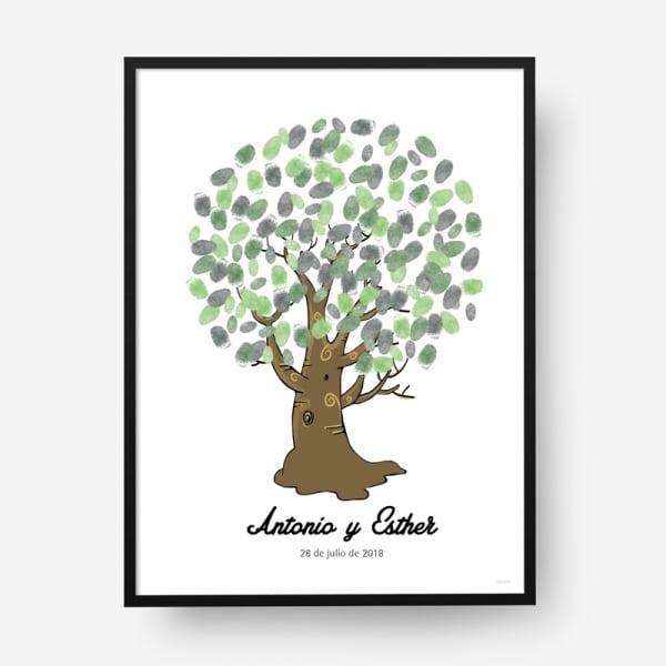 Cuadro huellas boda árbol b10