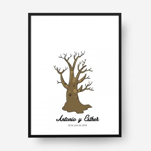 Lámina huellas boda árbol b10
