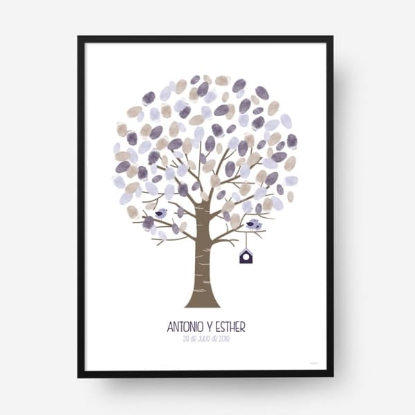 Cuadro huellas boda árbol b14
