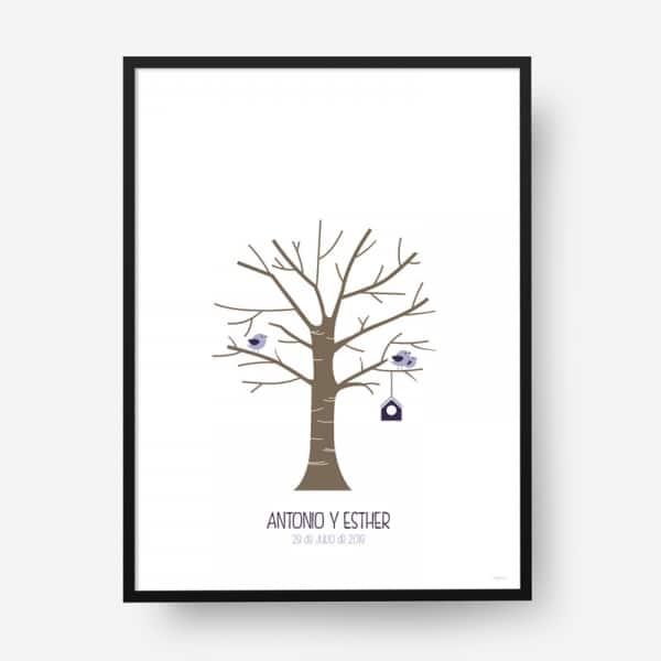 Lámina huellas boda árbol b14
