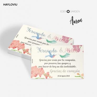 tarjeta agradecimiento HAYLOVIU aurea